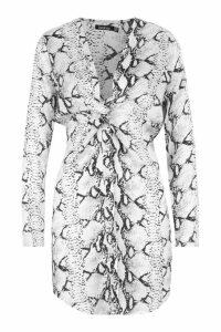 Womens Snake Print Knot Front Woven Shirt Dress - grey - 8, Grey