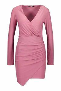 Womens Wrap Long Sleeve Bodycon Dress - purple - 6, Purple