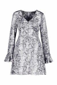Womens Satin Snake Print Long Flared Sleeve Skater Dress - white - 10, White