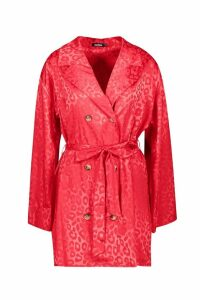 Womens Leopard Jacquard Satin Blazer Dress - red - 14, Red
