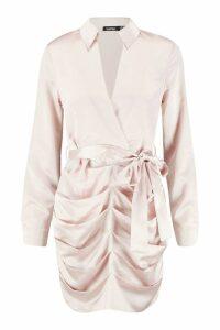 Womens Satin Ruched Shirt Dress - beige - 8, Beige