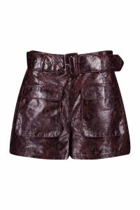 Womens Snake Print Leather Look Belted Pocket Shorts - brown - 14, Brown