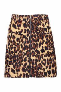 Womens Pocket Front Leopard Cord Mini Skirt - beige - 14, Beige