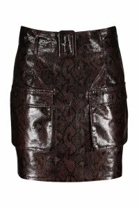 Womens Snake Print Leather Look Belted Cargo Mini Skirt - brown - 10, Brown