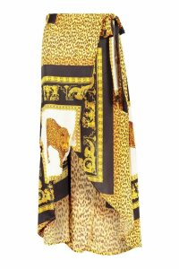 Womens Chain Scarf Satin Print Wrap Midaxi Skirt - black - 8, Black