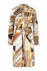 Womens Chain Print Belted Woven Shirt Dress - beige - 8, Beige