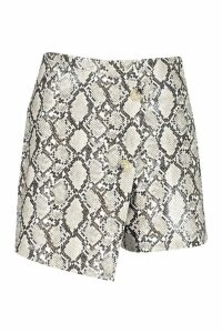 Womens White Snake Leather Look Wrap Skort - 12, White
