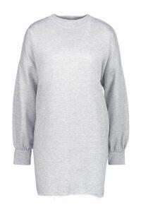 Womens Funnel Neck Oversized Sweat Dress - grey - 10, Grey