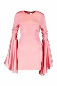 Womens Satin Ruched Flared Sleeve Bodycon Dress - pink - 10, Pink