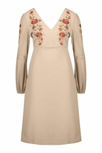 Womens Embroidered Blouson Sleeve Midi Dress - beige - 14, Beige