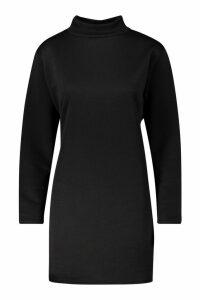 Womens Funnel Neck Long Sleeve Sweatshirt Dress - black - 14, Black