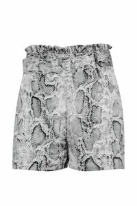Womens Snake Satin Belted Shorts - grey - 16, Grey