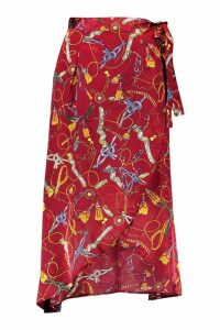 Womens Satin Chain Print Wrap Midaxi Skirt - red - 10, Red