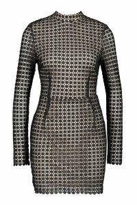 Womens Premium Lace High Neck Bodycon Dress - black - 10, Black