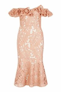 Womens Premium Lace Off The Shoulder Midi Dress - pink - 10, Pink