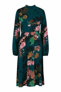 Womens Floral Volume Sleeve Skater Dress - green - 12, Green