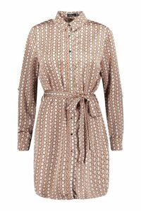 Womens Geo Button Front Woven Shirt Dress - beige - 8, Beige