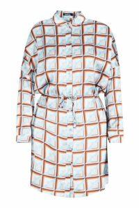 Womens Geo Print Luxe Shirt Dress - blue - 12, Blue