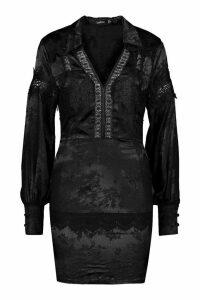 Womens Satin Jacquard Lace Trim Shirt Dress - black - 8, Black