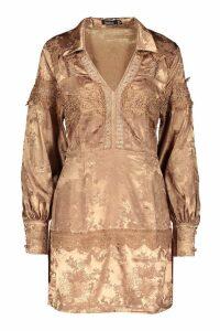 Womens Satin Jacquard Lace Trim Shirt Dress - beige - 14, Beige
