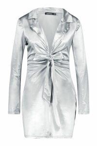 Womens Satin Tie Front Detail Shift Dress - grey - 10, Grey