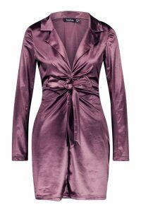 Womens Satin Tie Front Detail Shift Dress - purple - 8, Purple