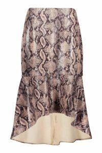 Womens Snake Leather Look Mermaid Midi Skirt - beige - 10, Beige