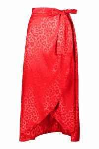 Womens Leopard Satin Jacquard Wrap Midaxi Skirt - red - 10, Red