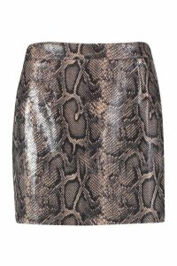 Womens Snake Faux Leather Mini - brown - 8, Brown
