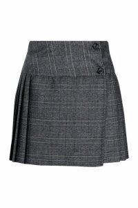 Womens Check Pleated Kilt Mini Skirt - grey - 8, Grey