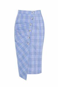 Womens Check Button Ruched Wrap Midi - blue - 14, Blue