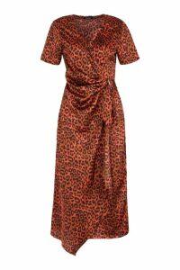 Womens Wrap Front Buckle Detail Midi Dress - Brown - 12, Brown