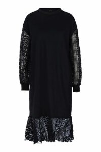 Womens Crochet Balloon Sleeve Sweat Dress - black - 14, Black