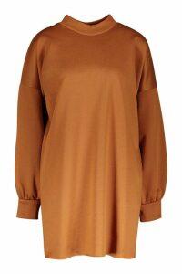 Womens Funnel Neck Oversized Sweat Dress - beige - 12, Beige