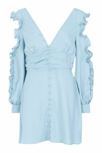Womens Ruffle Sleeve Button Front Skater Dress - blue - 14, Blue