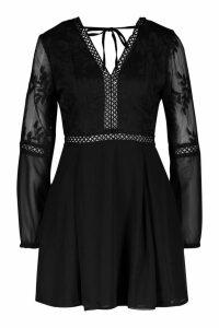 Womens Crochet Lace Insert Skater Dress - black - 8, Black