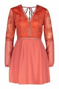 Womens Crochet Lace Insert Skater Dress - orange - 16, Orange