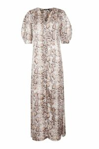 Womens Button Through Snake Print Maxi Dress - Beige - 10, Beige