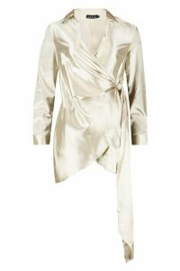 Womens Satin Drape Front Long Sleeve Dress - beige - 10, Beige