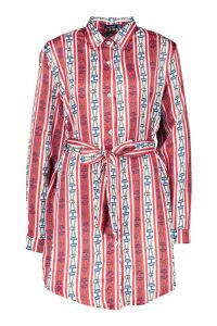 Womens Nautical Chain Print Belted Shirt Dress - red - 12, Red