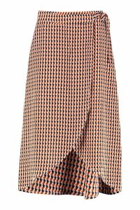 Womens Geo Print Wrap Midaxi Skirt - navy - 8, Navy