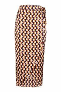 Womens Geo Print Satin Wrap Midaxi Skirt - beige - 16, Beige