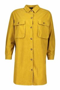 Womens Super Oversized Cord Shirt Dress - yellow - 6, Yellow