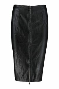 Womens PU Leather Look Zip Front Midi Skirt - black - S, Black