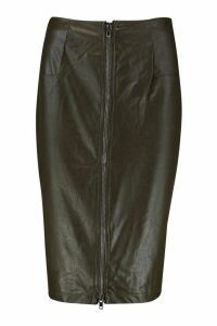 Womens PU Leather Look Zip Front Midi Skirt - green - S, Green
