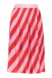Womens Woven Stripe Pleated Skirt - Pink - 14, Pink