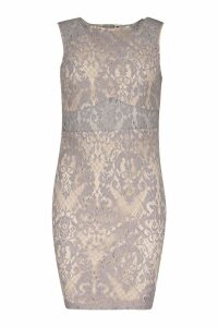Womens Woven Embroidery Lace Bodycon Dress - grey - 14, Grey