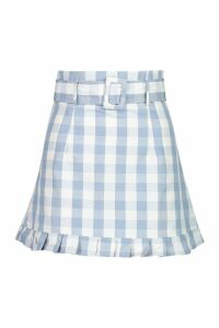 Womens Gingham Check Belted Ruffle Hem Mini - blue - 14, Blue