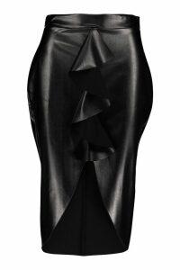 Womens Leather Ruffle Front Midi Skirt - black - 8, Black
