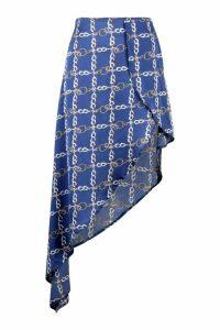 Womens Chain Print Satin Asymmetric Skirt - blue - 10, Blue